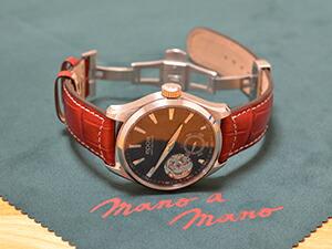 時計ベルトをモレラートのグットゥーゾに交換したEPOS Passion Open Heart