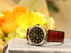 時計ベルトをモレラートのグットゥーゾに交換したROLEX EXPLORER