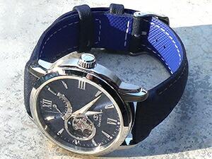 時計ベルトをモレラートのスカッシュに交換したオリエントスターセミスケルトンWZ0081DA