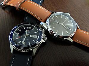 時計ベルトをディモデルのジャンボに交換したオリエントMakoとハミルトンJazzmaster