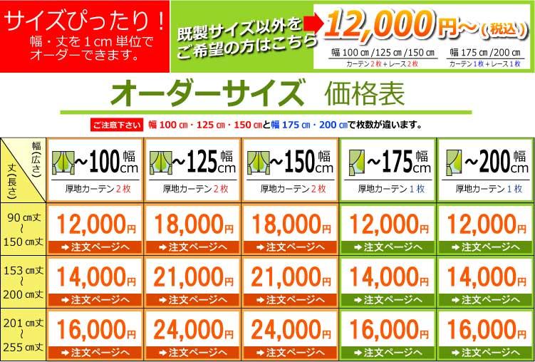 オーダーサイズ価格表