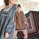 : Tunic blouse ボヘミアンエスニッカー ♪ オトナガーリーチュニックワンピ ♪ @H0103 | tunic long sleeve |