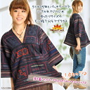 It is シブ かわ horse mackerel rudder in blouse Lady's Hmong ろうけつぞめと patchwork! It is sleeve blouse :| for Hmong 7 of the size relaxedly T@F0505 Blouse cloth with patterns three-quarter sleeves | Blouse cloth with patterns long sleeves |