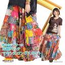 Bright lovely ☆ floral patch Maxi-length long skirt MxC0201 [ethnic Asian fashion] | long Maxi skirt | skirt cotton (cotton) | n_marai
