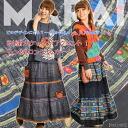 A long skirt Hmong embroidery pocket is an accent! Hmong long skirt T@C0207[ horse mackerel Ann fashion ethnic fashion long length maxiskirt length race waist rubber ]| Skirt long skirt cotton (cotton) |: