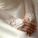 In the fingerless glove wedding item elbow that a race shines in the glove - transparent subject matter (40cm)