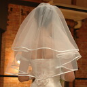 Two steps of short wedding veils which Wedding Veil satin piping gives a gentle impression to