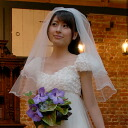 Short edge Wedding Veil frills like double wedding Vert back 75 cm