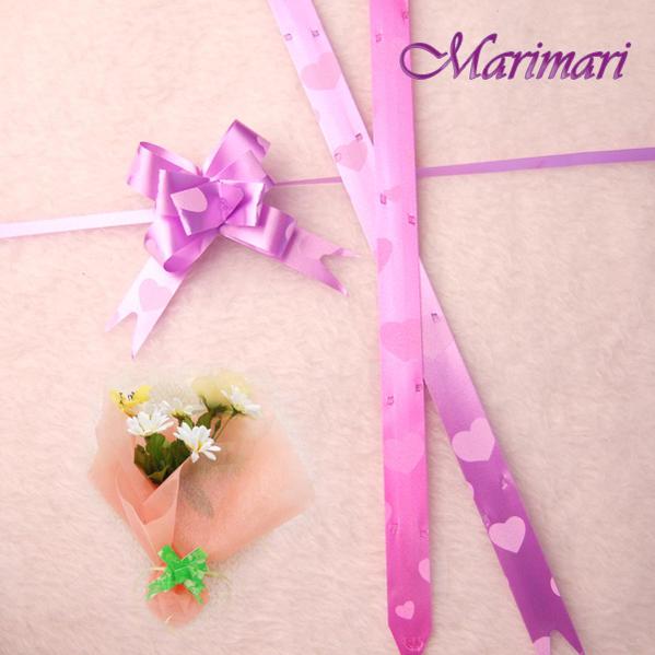 一触式丝带蝴蝶船头 minigiftflower 薰衣草紫色 / 洋红色粉红色心