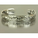 Hawaiian jewelry silver bangle frangipani & wave silver bangle 11mm / accessories fs3gm