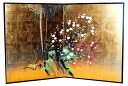 Two pieces fold length type gold-leaf folding screen generic name of the subject of orchid, bamboo, plum and chrysanthemum in Chinese painting