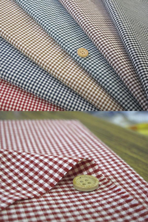 【1.5mmギンガム 地は暖みのあるベージュです♪】国産 綿ポリ 生地 ダンガリー 品番6000-12【ほどよいハリで縫いやすい☆】【ギンガム:小 厚:3 ハリ:3 地:ベージュ】