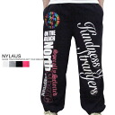 NYLAUS / ナイラス-double face material-by color! Rainbow foil print ナイトサーフスウェット pants