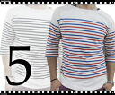 HORIZON DREAM/ panel Malin horizontal stripe six minutes sleeve T-shirt