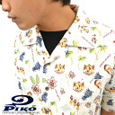 "PIKO / p 101425501 ~ sallow material ~ full color! ""Hawaiian pattern' cool! Hawaiian open-necked shirts"