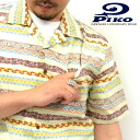 PIKO / p 101425502 ~ sallow material ~ full color! Native pattern open-necked Aloha marukawa