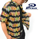 "PIKO / p 101425507-ripple material-1 color! ""Surfboards pattern' cool! Button-down Aloha shirt"
