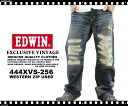 "43% Off EDWIN / Edwin ~ 444XVS-256 ~ ウエスタンジップ ""grayed out"" remake machining damage straight denim"