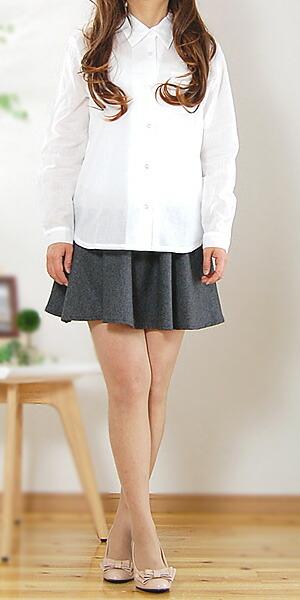オフホワイト半袖ガーゼブラウスシャツ