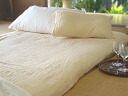 A sum mattress cover. In winter warm summer はさらり. 210*250 beige gauze sheet * double size sweat perspiration fast-dry /-maru washing OK10P30Nov13 that is kind to skin