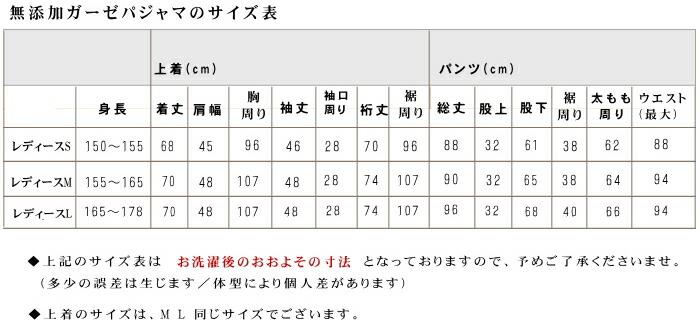 松並木 2重 フリルガーゼパジャマ サイズ表