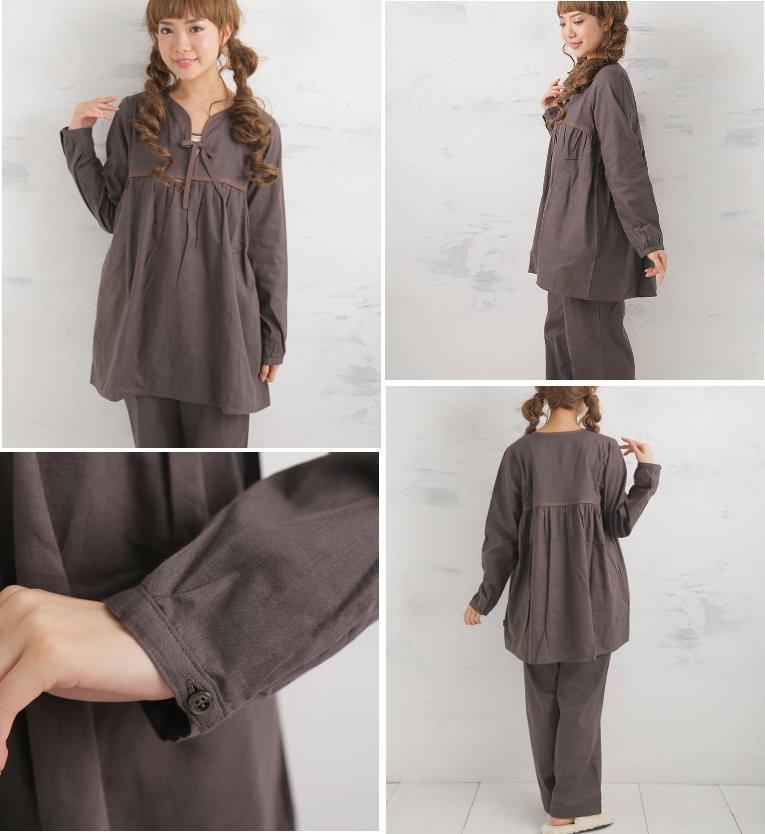 松並木の無添加 ガーゼパジャマ パジャマ 長袖 かわいいチュニック型