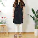 "Skin-friendly cotton 100% black double gauze short sleeve gaseshatswan piece ""made in Japan"" salary comfortable wear!"