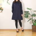 Fluffy is comfortable to wear! 100% Cotton Navy gauze 2 sheets layered long sleeve ヘンリーネックシャツワン-piece * ladies free