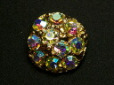 22 mm vintage rhinestone buttons made of metal.