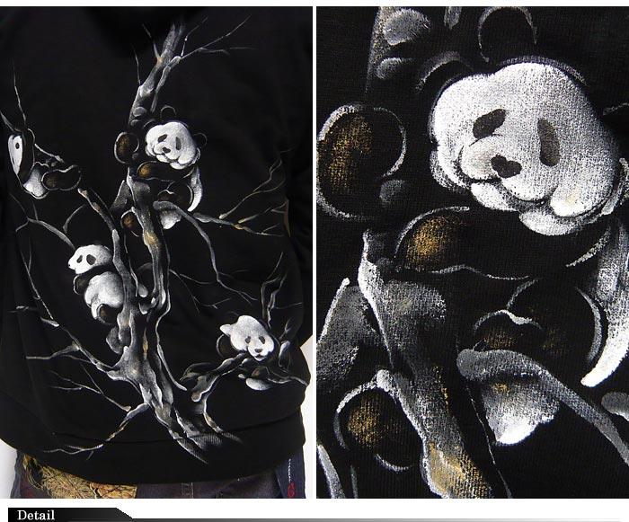 禅[禅宗] 树攀爬熊猫咪的京雅手绘日本模式帕克制造的日本 /kpk016