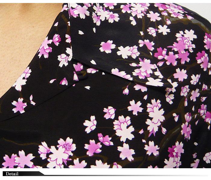 花旅游带 [] 樱桃用尽图案丝绸夏威夷夏威夷衬衫 / 日本花纹短袖衬衫