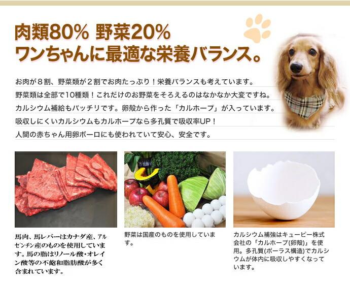 肉類80% 野菜20% ワンちゃんに最適な栄養バランス