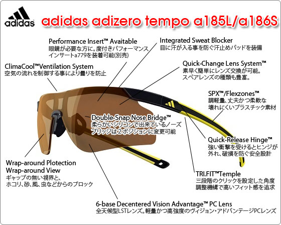 adidas スポーツサングラス adizero tempo