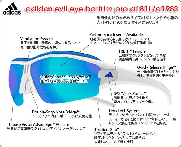 adidas スポーツサングラス evil eye harfrim pro a181L/a198Sの特徴