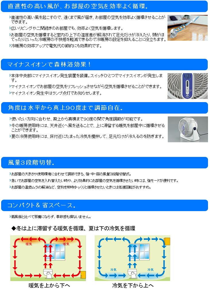 ツインバード:マイナスイオン発生サーキュレーター/KJ-D995W ホワイト
