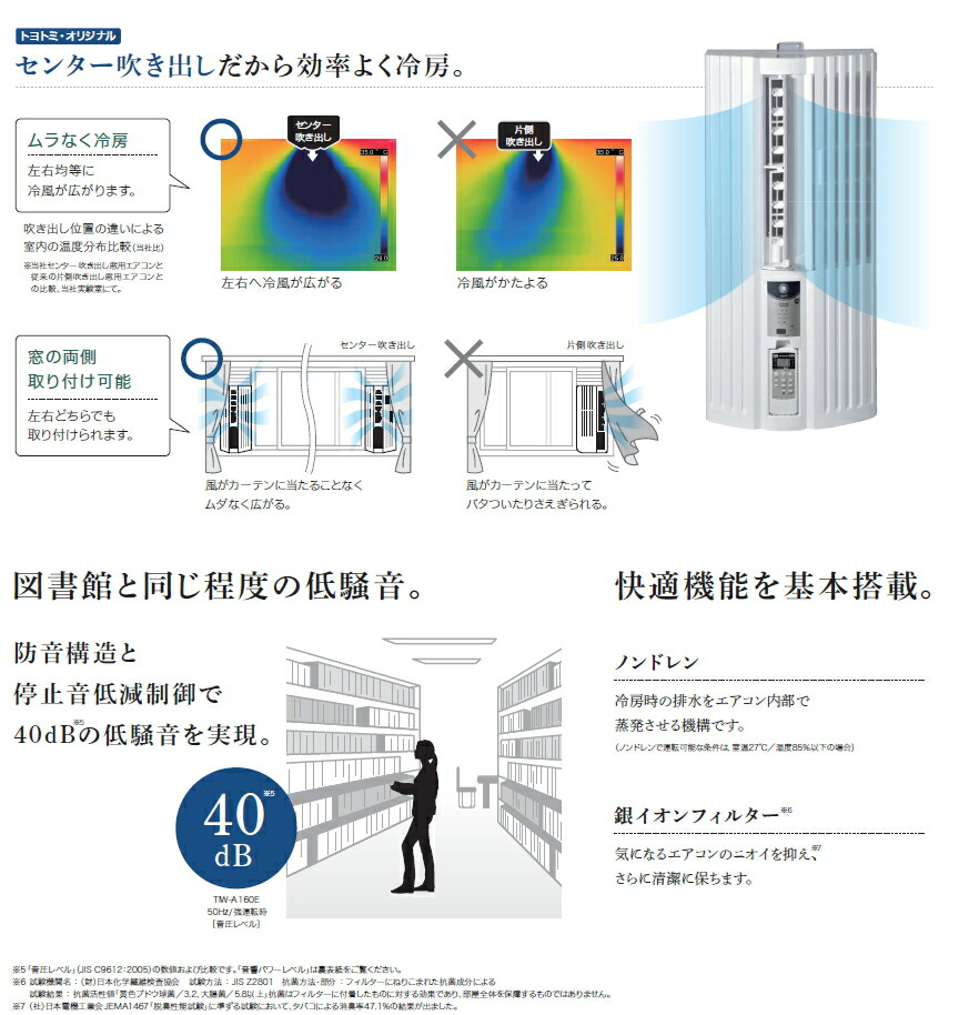 トヨトミ:窓用エアコン/TIW-A160-Wホワイト