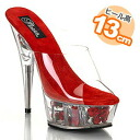 A 13cm heel! ♪ crystal mule (red )[f601-cr]/ me me ☆ 5,400 yen (tax-included) is the above) with Rose