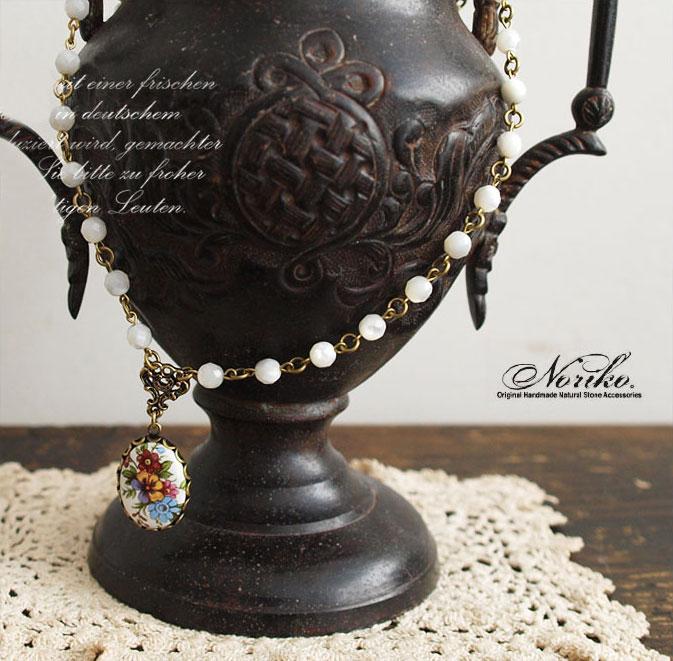 【Noriko。ノリコ】 陶器 の フラワー ペンダント ネックレス