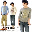 T shirt mens ladies printed long sleeve [UNIVERSITY] 7 minutes sleeve vintage Raglan T shirt Kurashiki Kojima from /LS 10P13oct13_b.