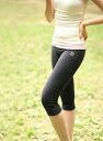 Feeling ★ Capri length stretch yoga leggings underwear (charcoal & pink) which a waist lapel has good