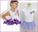 Lovely large Ribbon, huh! FURTER sleeve children's Ballet Leotard [Violet]