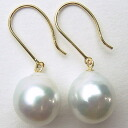 K14WG/K18 South Sea White Pearl Earrings esl-5506 (South Sea Pearl White genuine Pearl Pearl mother of Pearl day)