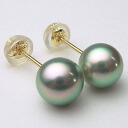 K18/K14WG pearl oyster pearl pierced earrings (green, gray system )(SV earrings, charm )ewn-5850( Ako and real pearl pearl oyster real pearl Ako and pearl black pearl sum ball pearl pierced earrings real pearl pearl direct connection 18-karat gold)