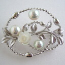 SV Akoya pearl brooches bwk-5459 (Oh here or this Pearl, here or this Pearl Akoya this Pearl Japanese Pearl natural atonal color Pearl) support
