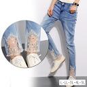 Large size Womens pants ■ Bijou with lace hem CUTE! feminine skinny denim ■ PANTS pants denim skinny pants L LL LL 3 l 4 l 5 l 11, 13, 15, 17, size large women's [[KK1559]] ▲ ▲