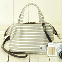 ♪ 2WAY mini-Boston model camera bag / natural beige frill with clasp