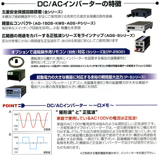 DC/ACインバーター(矩形波、正弦波)