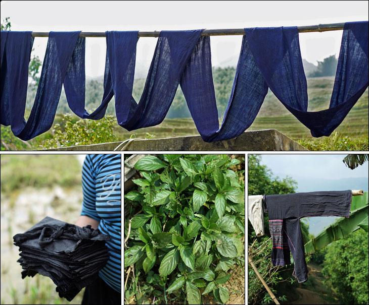 黒モン族藍染め布