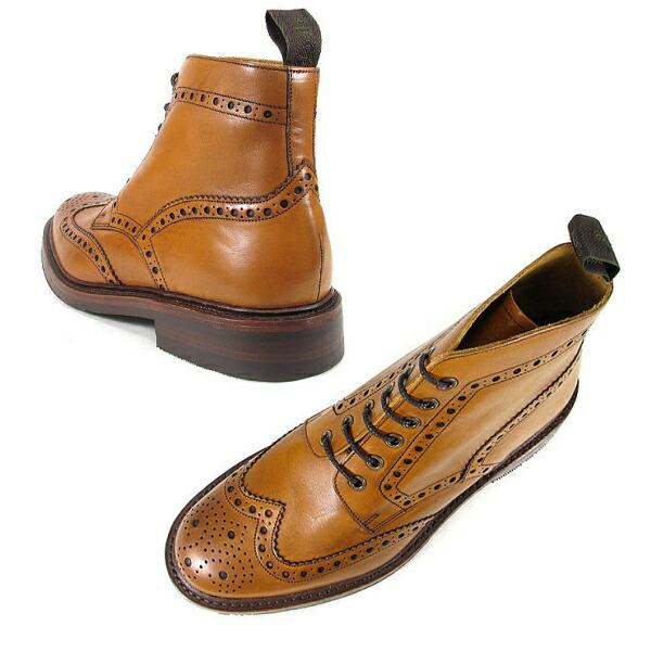 ローク ブーツ ウイングチップ LOAKE BEDALE タン Made in ENGLAND ビデイル カントリーブーツ メンズ シューズ 靴 革靴 本革レザー