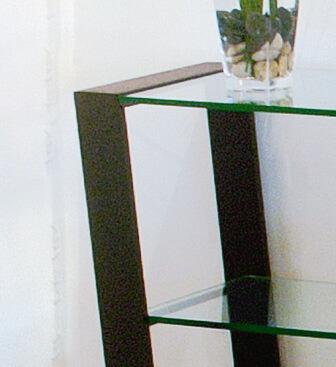 mirage  라쿠텐 일본: 유리 콘솔 테이블 MT-004 브라운 그레이 스틸 ...